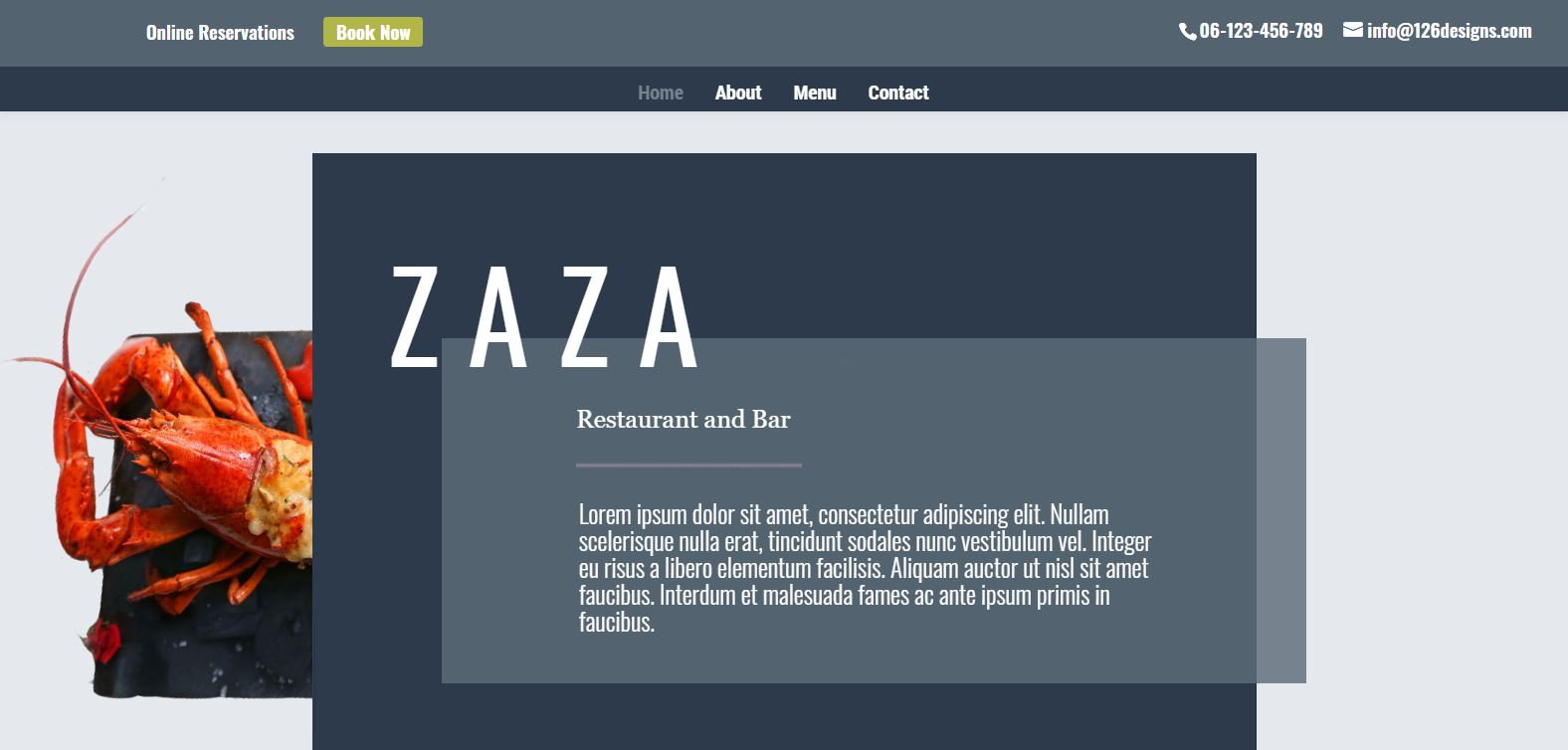 Zaza Restaurant Web Design example 6